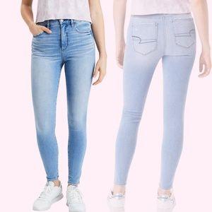 Light Blue American Eagle Super High Rise Waisted Dream Skinny Jeans